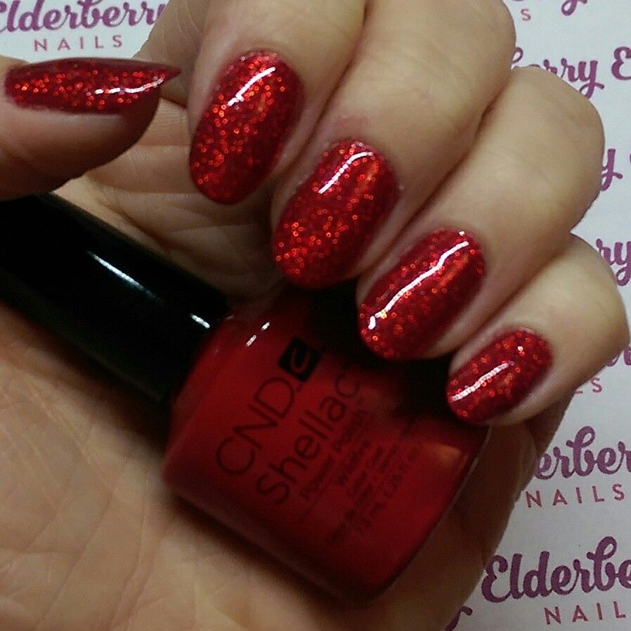 cnd shellac in wildfire with lecente glitter in flame | nails