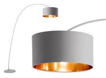 Sweep staande lamp in matgrijs met koper lampen