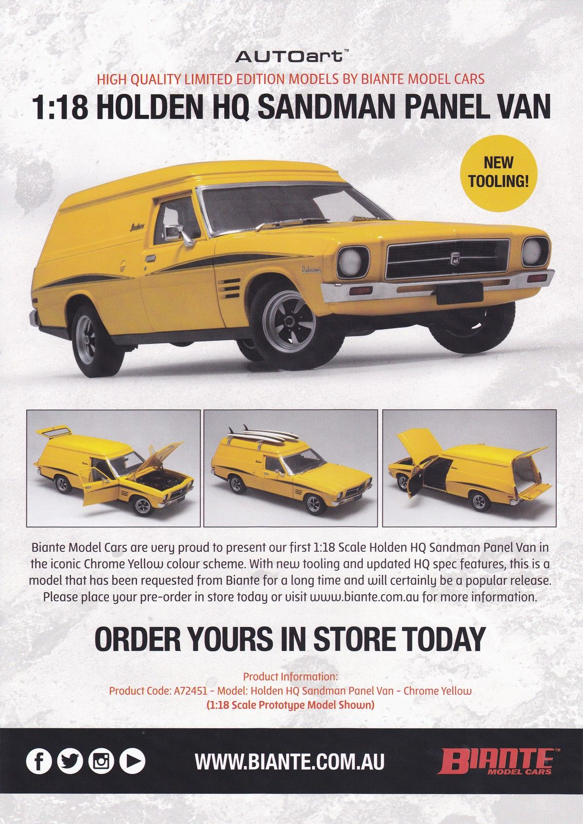 118 scale holden hq sandman panel van in chrome yellow model holden hq sandman panel van in chrome yellow model features sciox Gallery