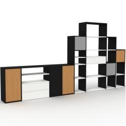 Photo of Regalsystem Schwarz – Regalsystem: Schubladen in Weiß & Türen in Eiche – Hochwertige Materialien – 3