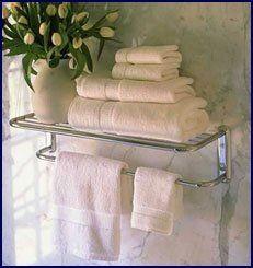 Polished Chrome Train Rack or Hotel Style 18 Towel Shelf with
