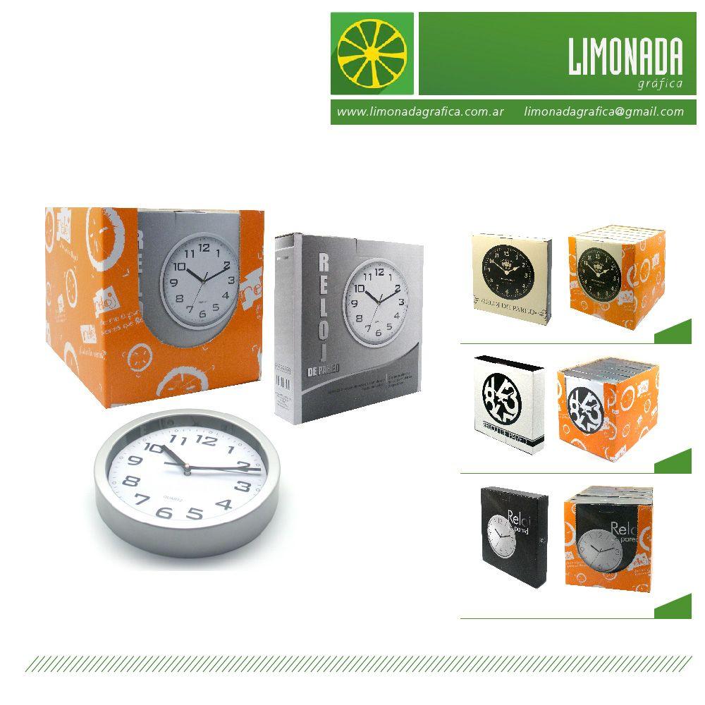 Línea de relojes desarrollada para Argenprom SRL, comercializada en SODIMAC. Desarrollo de arte para relojes + caja con troquel para góndola.