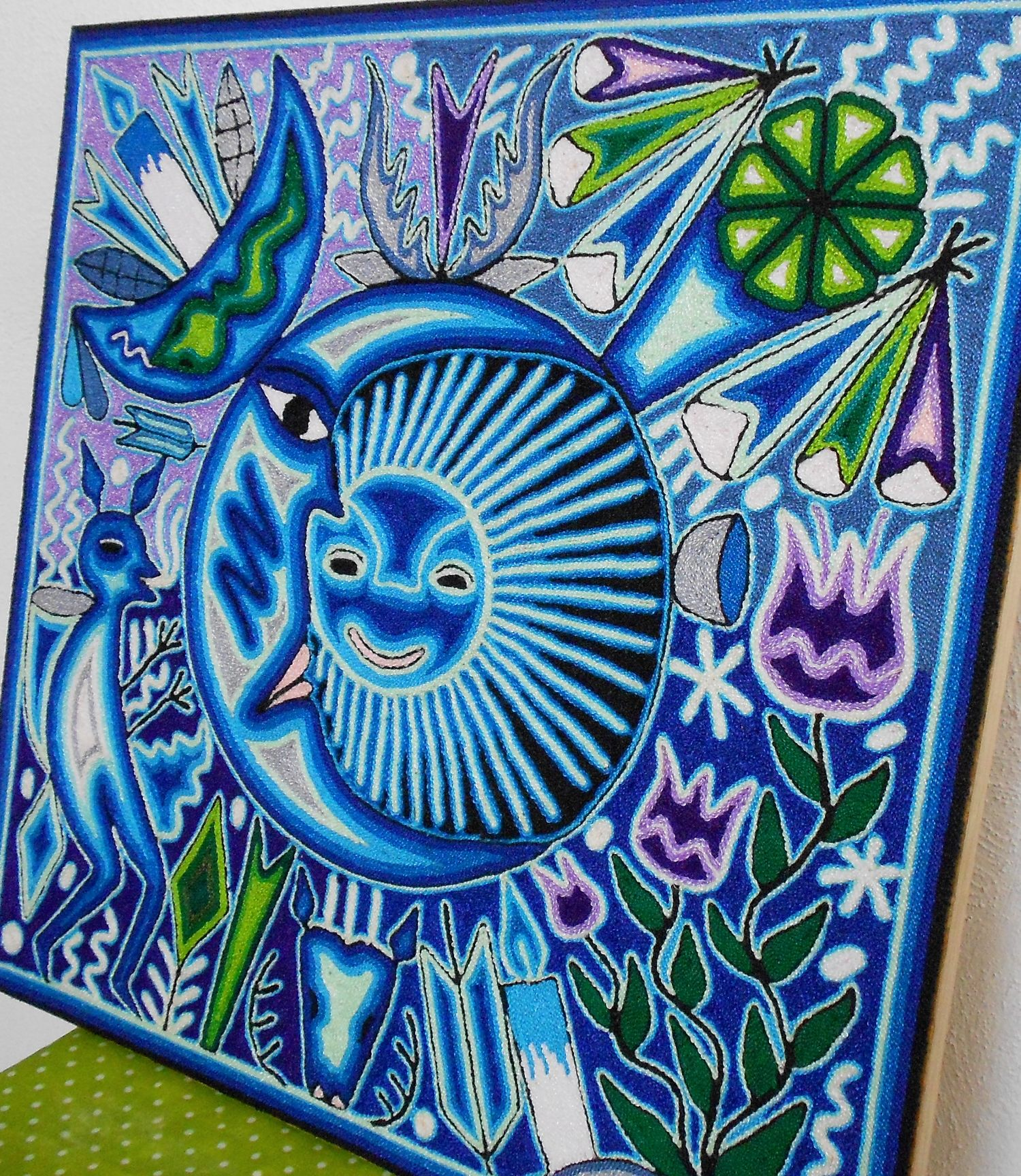 """16"""" Huichol Art Yarn Painting Eclipse and Offerings Yarn"""