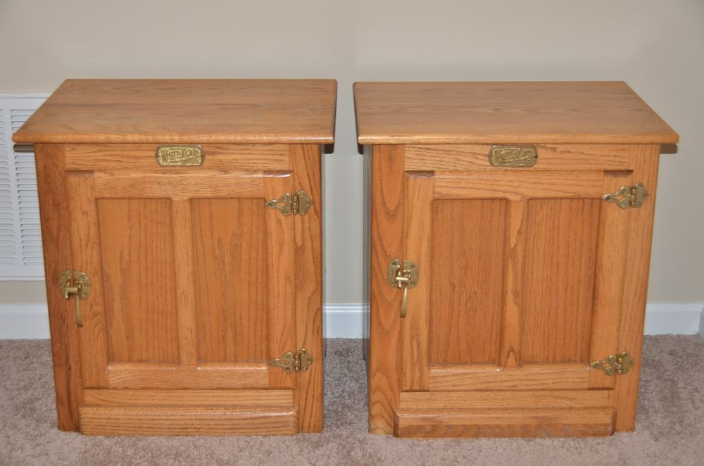 Pair Vintage White Clad Oak Wood Brass Icebox End Side Table Nightstand Cabinet Antique Table Oak Wood Maple Furniture