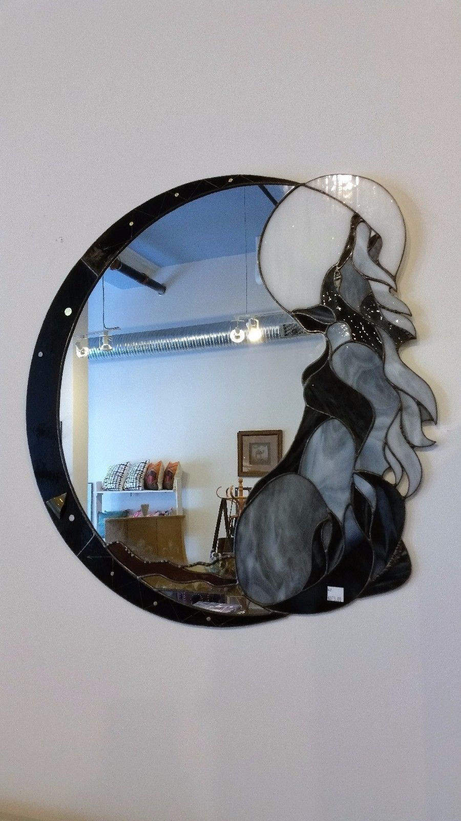 Stained Glass Art Deco Wolf Moon Mirror Ebay Stained Glass Art