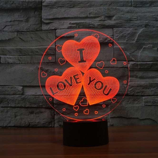 I Love You Hearts 3d Illusion Lamp In 2020 3d Illusion Lamp 3d Led Lamp 3d Illusions