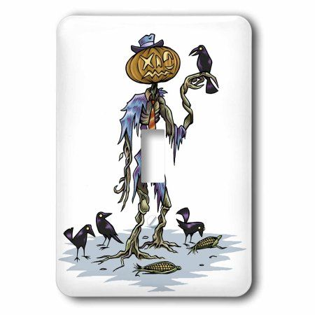 3dRose Scary Tattered Skeleton With Pumpkin Head And Crows, Single Toggle Switch