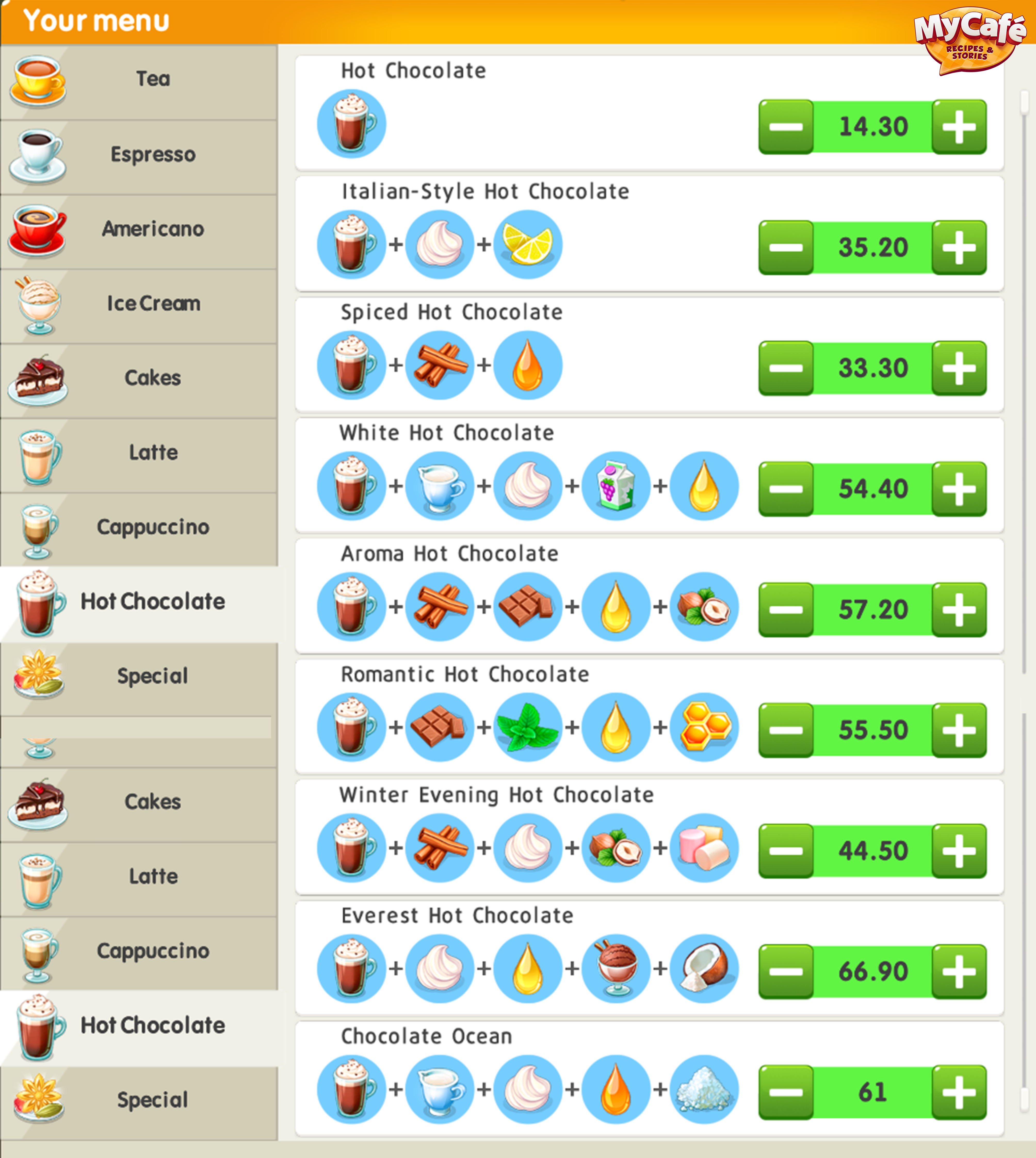 Recipes My Cafe Recipes Stories Melsoft Games Game