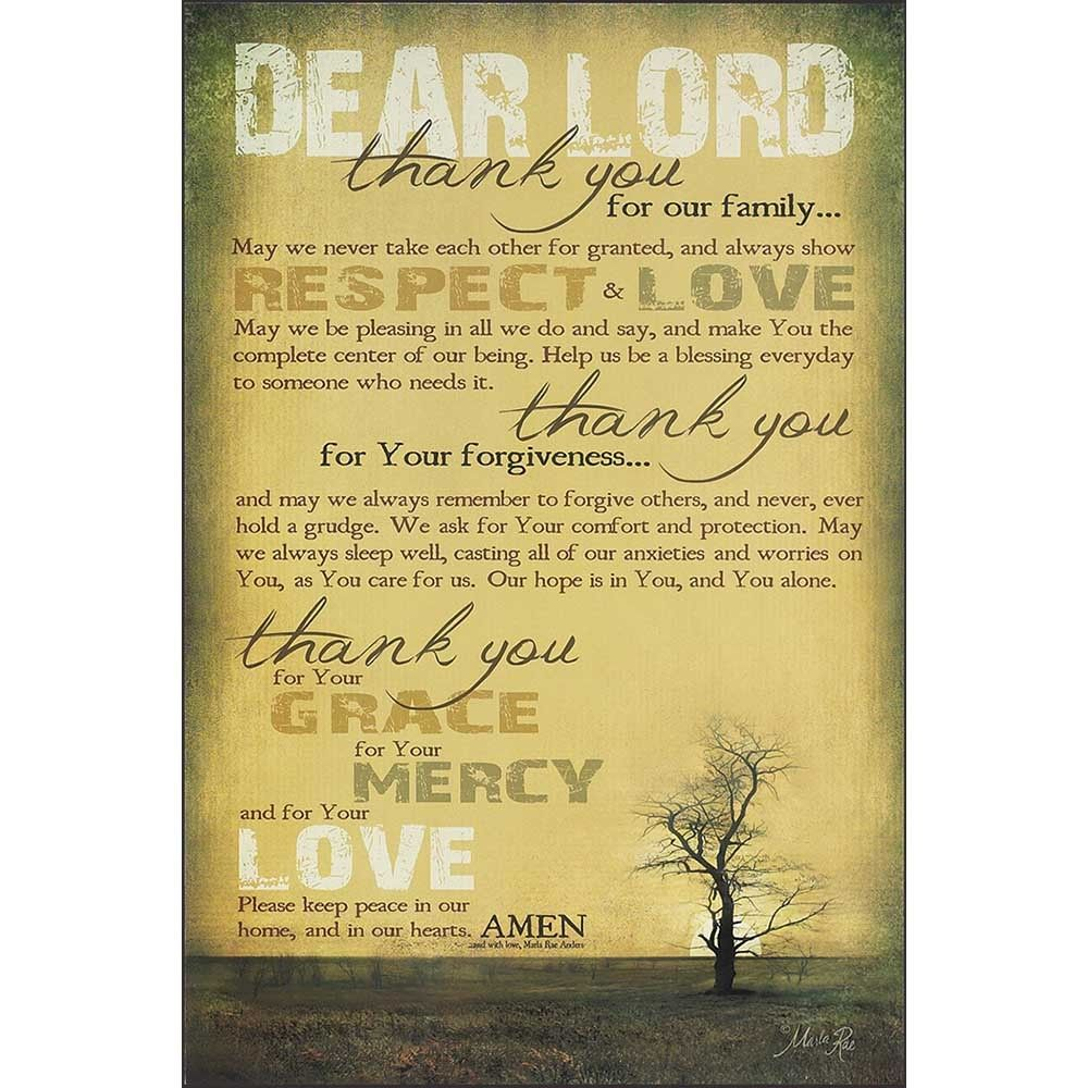 The Dear Lord, Thank You Plaque features artwork by Marla Rae Anders ...