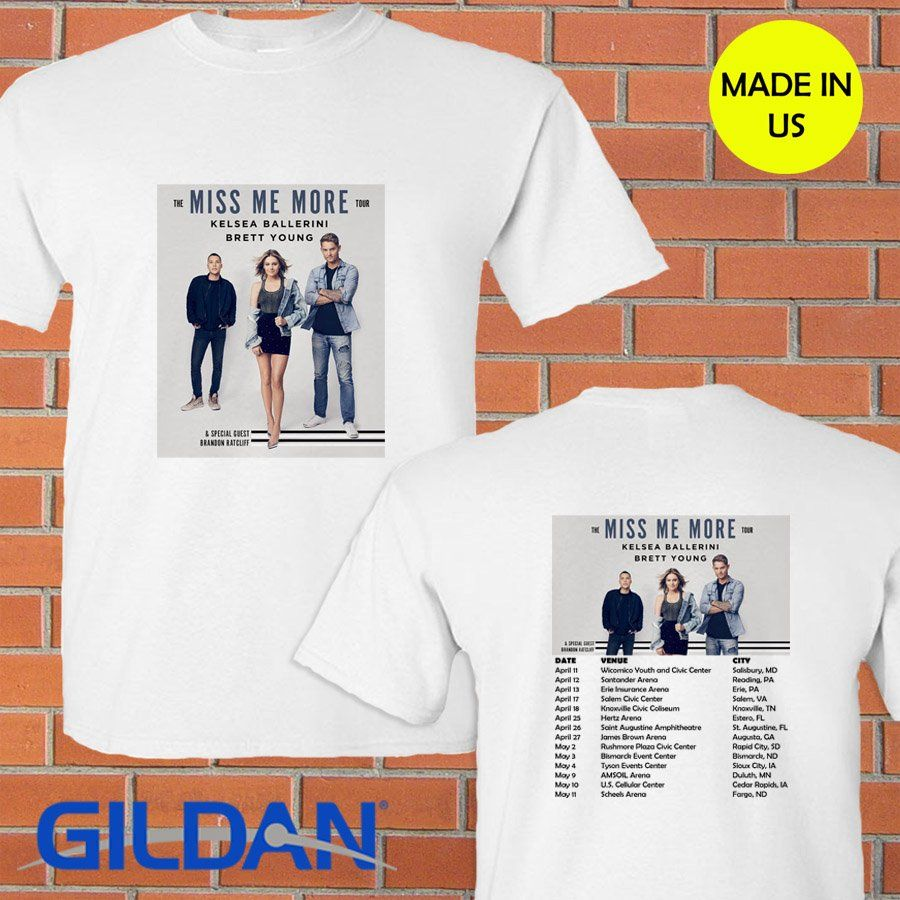 Kelsea Ballerini Brent Young Miss Me More Tour 2019 White Tee S