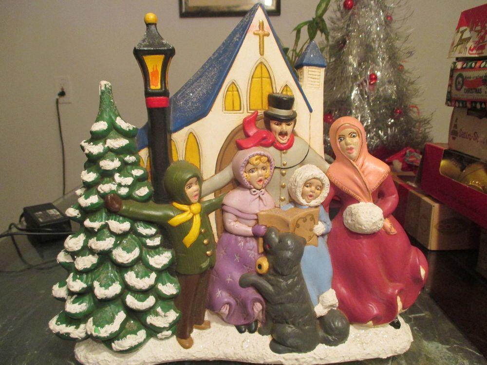 Vtg Atlantic Mold Ceramic Lighted Music Christmas Tree Church-Victorian Carolers