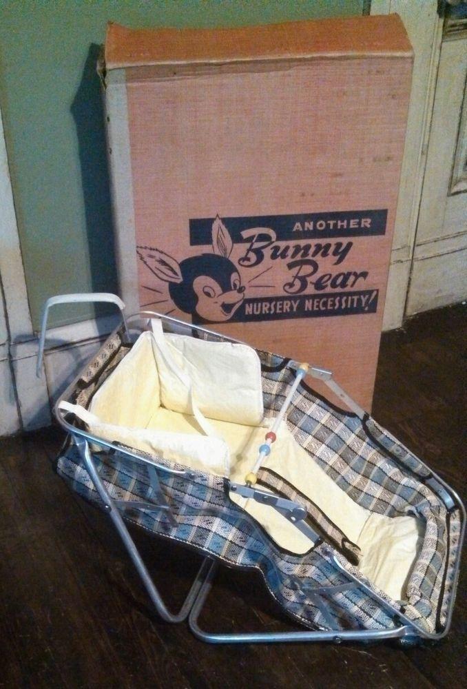 Vintage 1950 Bunny Bear Car Baby Convertible Auto Bassinet Seat Original Box OLD Beds