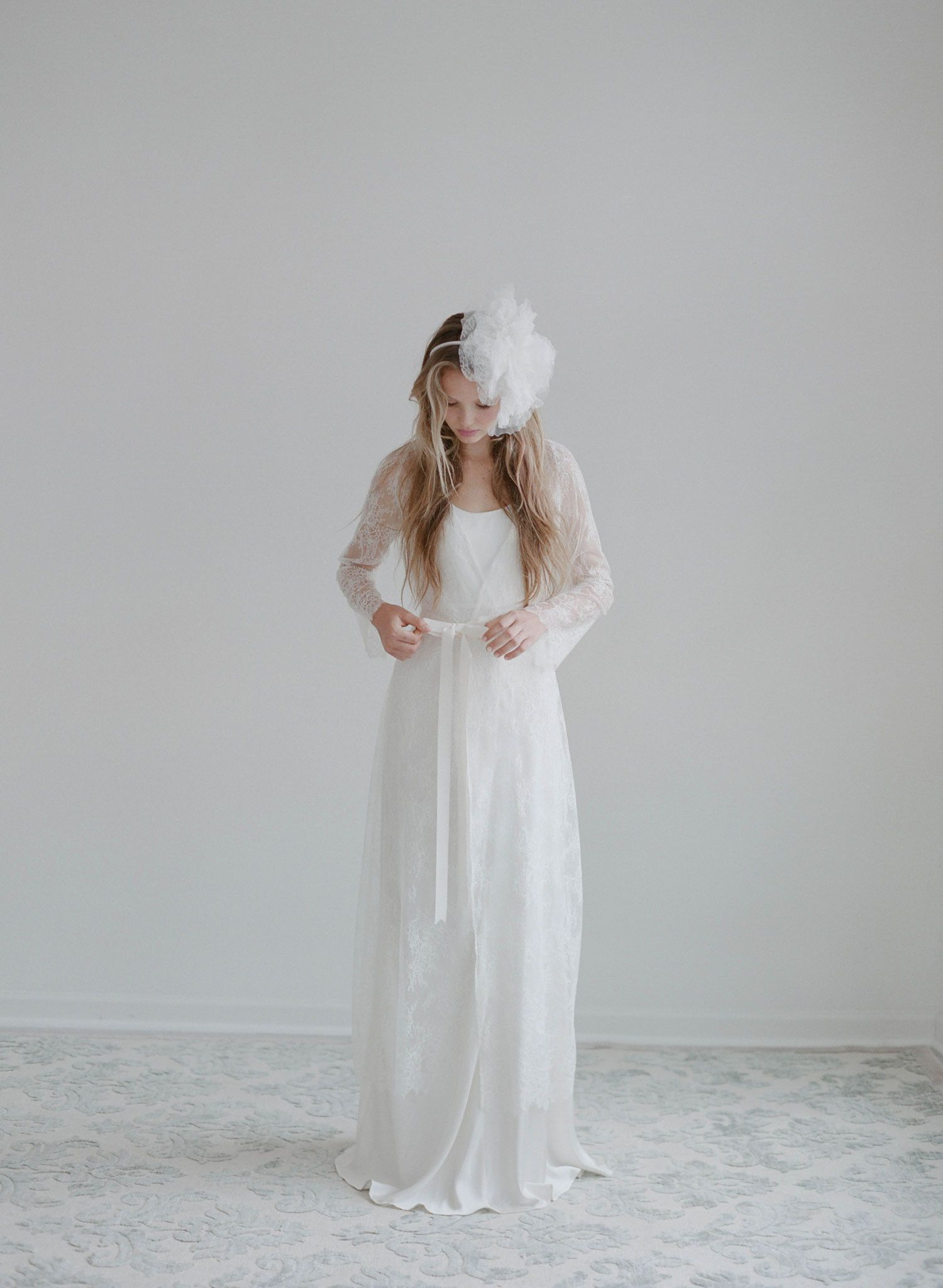 Swallow lace long robe style th bridal separates