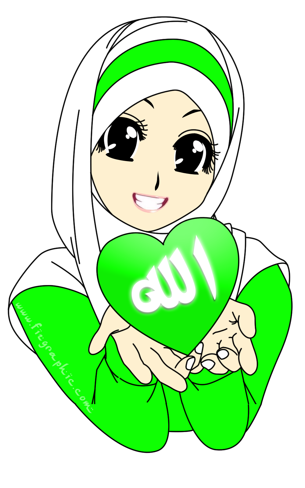 Cartoon Islam Ahhhh Hijau PNG Nothing Pinterest Cartoon