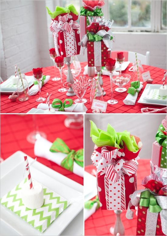 Holiday Table Decor Ideas On Any Budget Holiday Table Decorations Holiday Party Table Christmas Party Centerpieces
