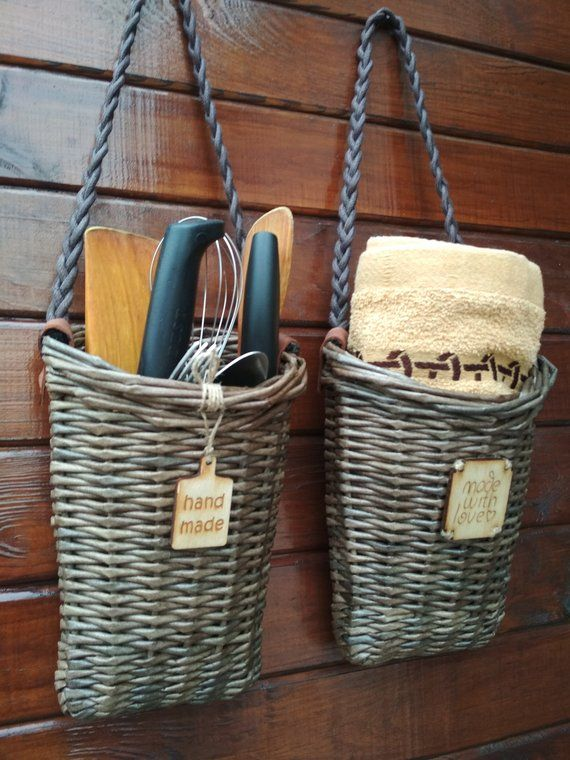 wicker hanging baskets.wall hanger for storage. a set of 2
