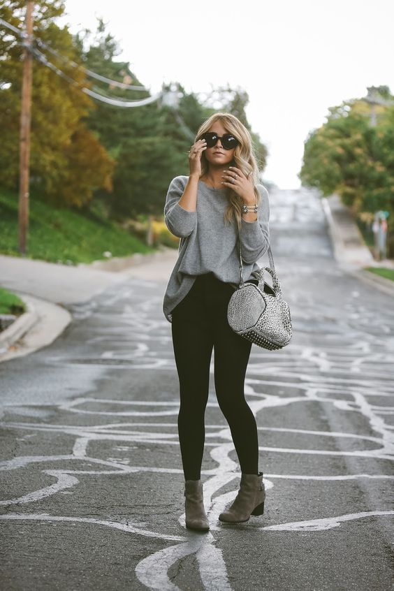 60449505526 06 black leggings, a long grey jersey, boots - Styleoholic | what to ...