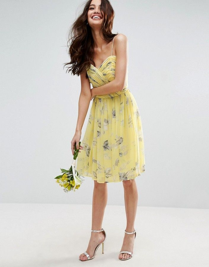 Asos WEDDING Rouched Mini Dress in Sunshine Floral Print  7922658a1c497
