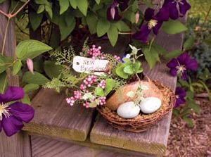 bird nest decorations | NEW BEGINNINGS BIRD NEST Shelf Decoration GARDENING DELIGHT! | eBay