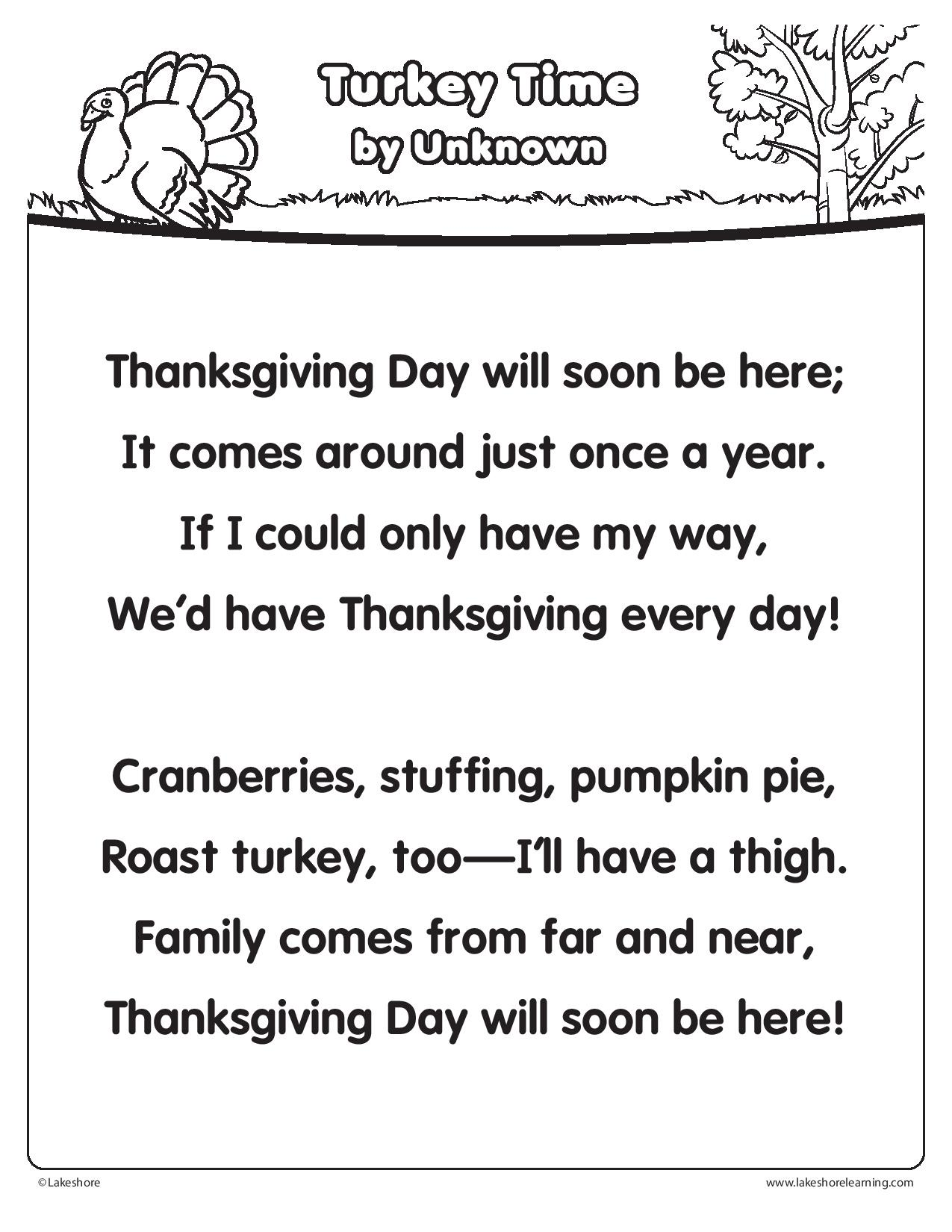 Here S A Fun Thanksgiving Poem With Tons Of Repetition And