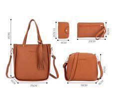 7c1ff53e15f9 4pcs Women Leather Handbag Lady Shoulder Bags Tote Purse Messenger Satchel  Set L