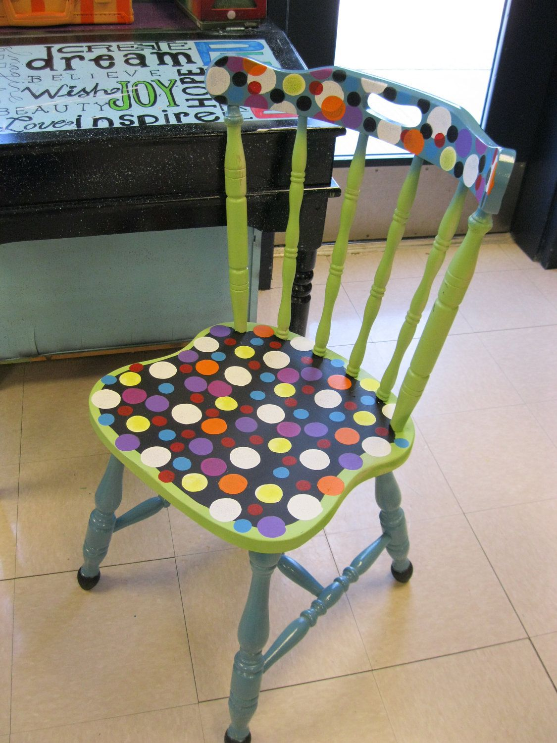 Jez4U Adorable Handpainted Old Wood Sturdy Chair Made New And Fresh Again  With Cheerful Paint I