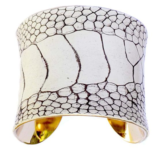 Winter White Ostrich Leather Cuff (Gold Lined) - by UNEARTHED $95.00