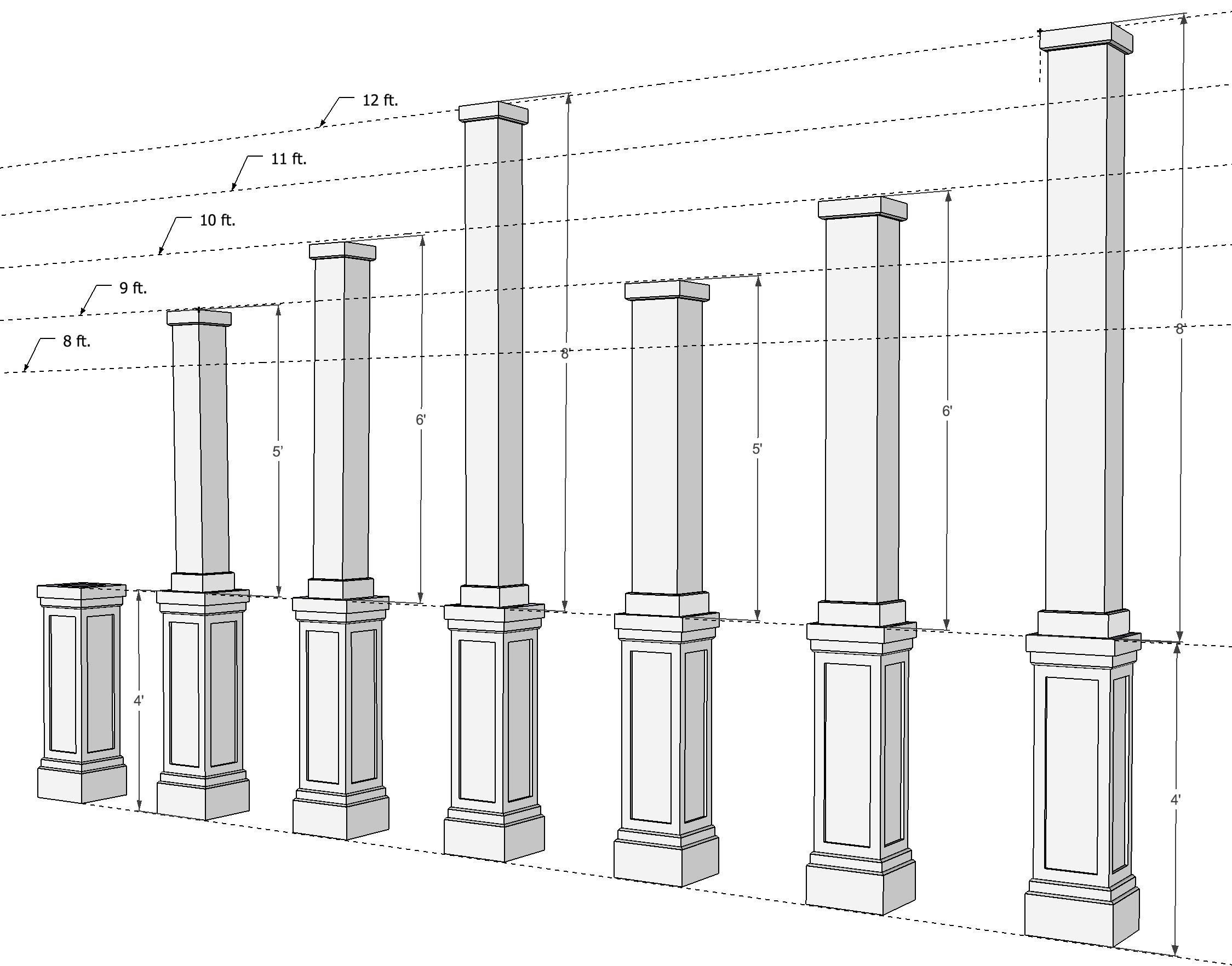 Pvc Combination Column Wrap Shaker Panel Column Wrap House Columns Square Columns