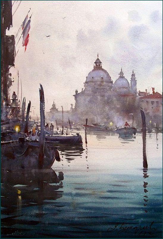 Dusan Djukaric Charm Of Venice Peinture De Venise Aquarelle Et