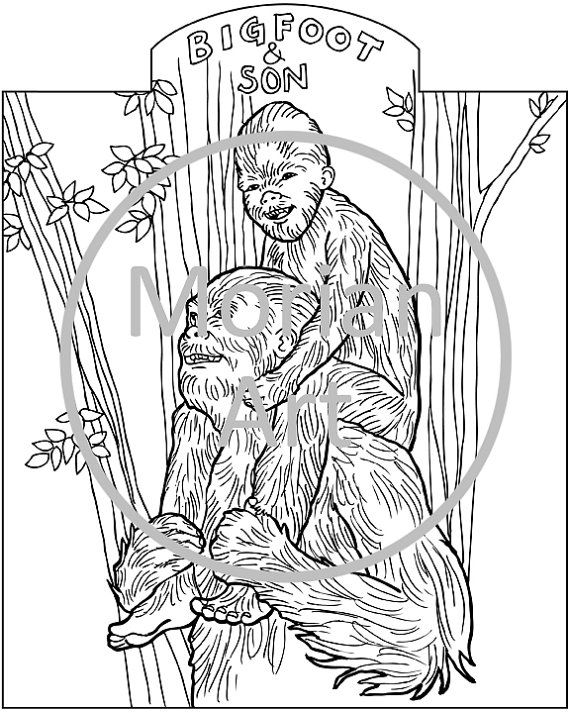 Bigfoot Printable Coloring Page By Morian On Etsy 0 85 With