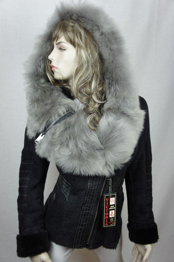Women 100% Real Shearling Suede Leather Sheepskin Toscana Hood ...