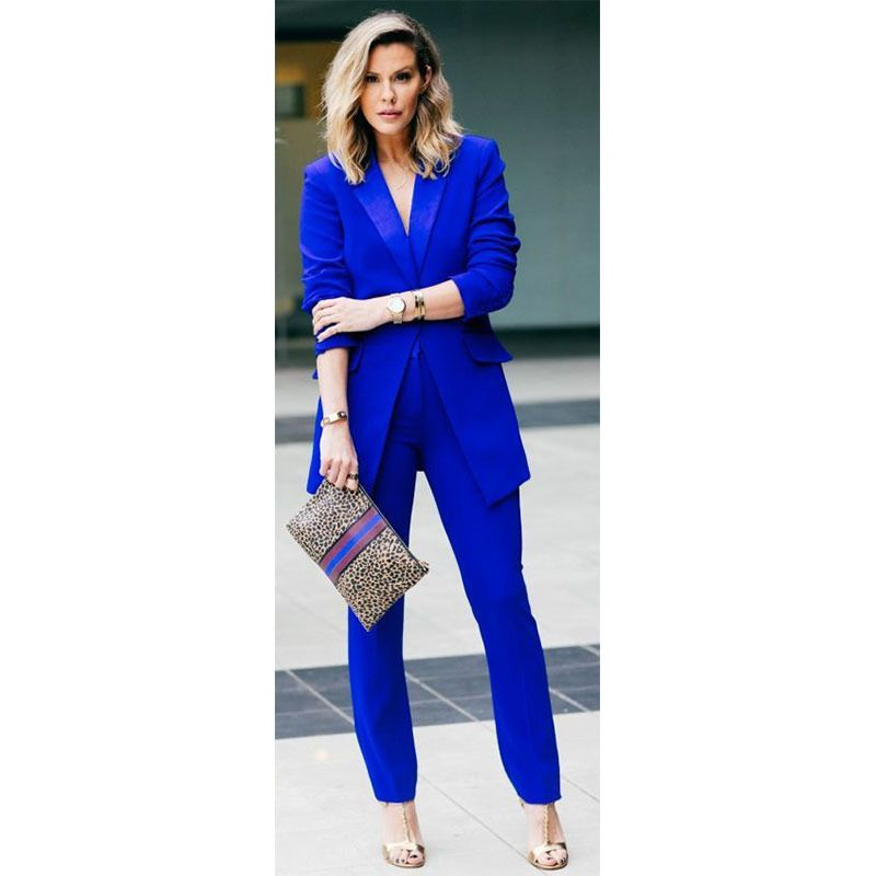 Royal Blue Female Office Uniform 2 Piece Set Women Trouser Suit