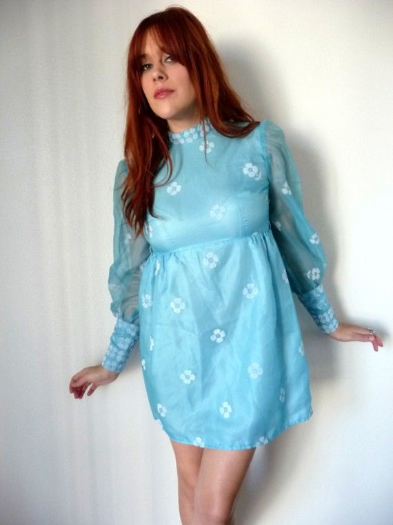 Vintage 60s Light Blue Puff Sleeve Flower Print Babydoll