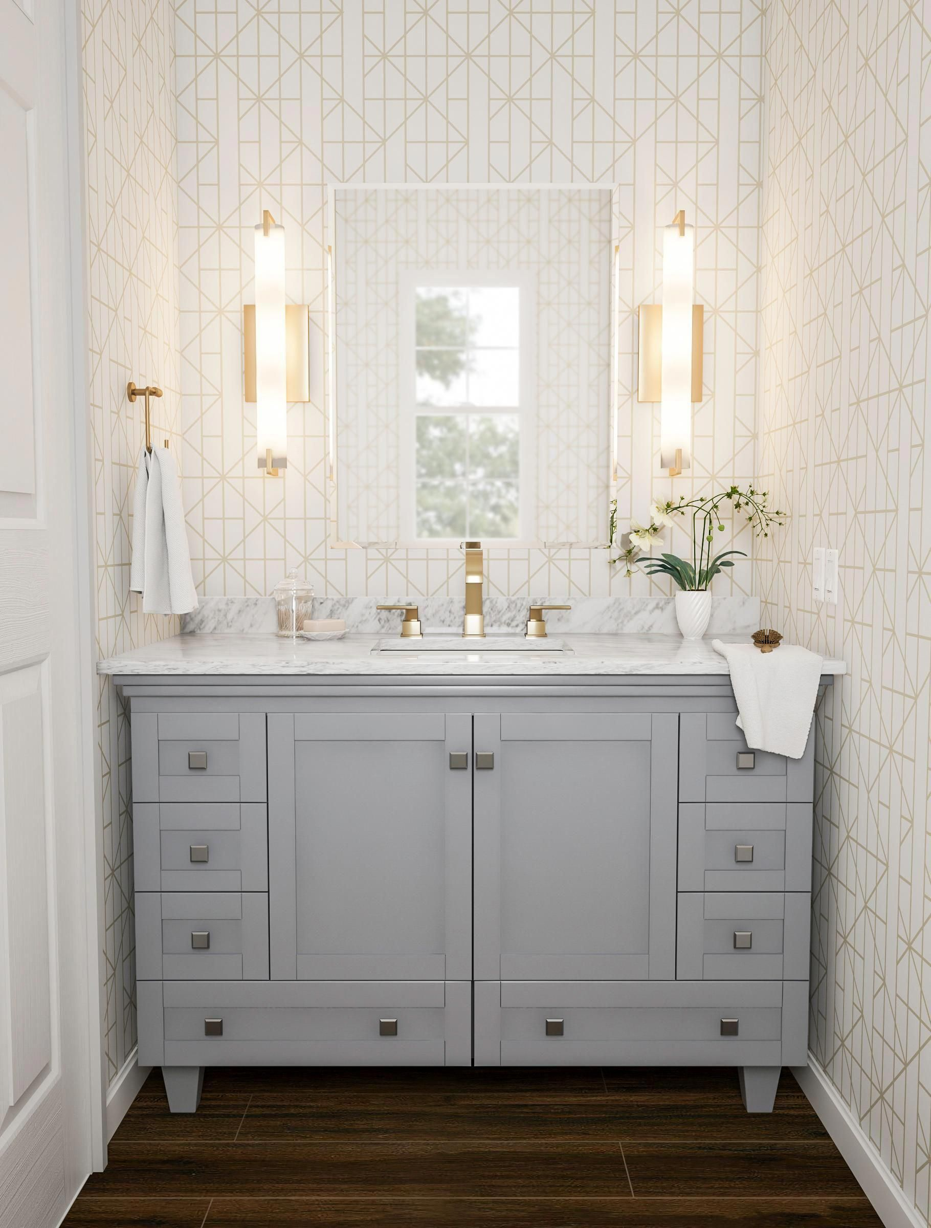 Nominate Geometry For Your Next Bathroom At First Glance This Vanity Nook Seems Simple It S Gra Bathroom Vanity Designs Double Vanity Bathroom Vanity Design