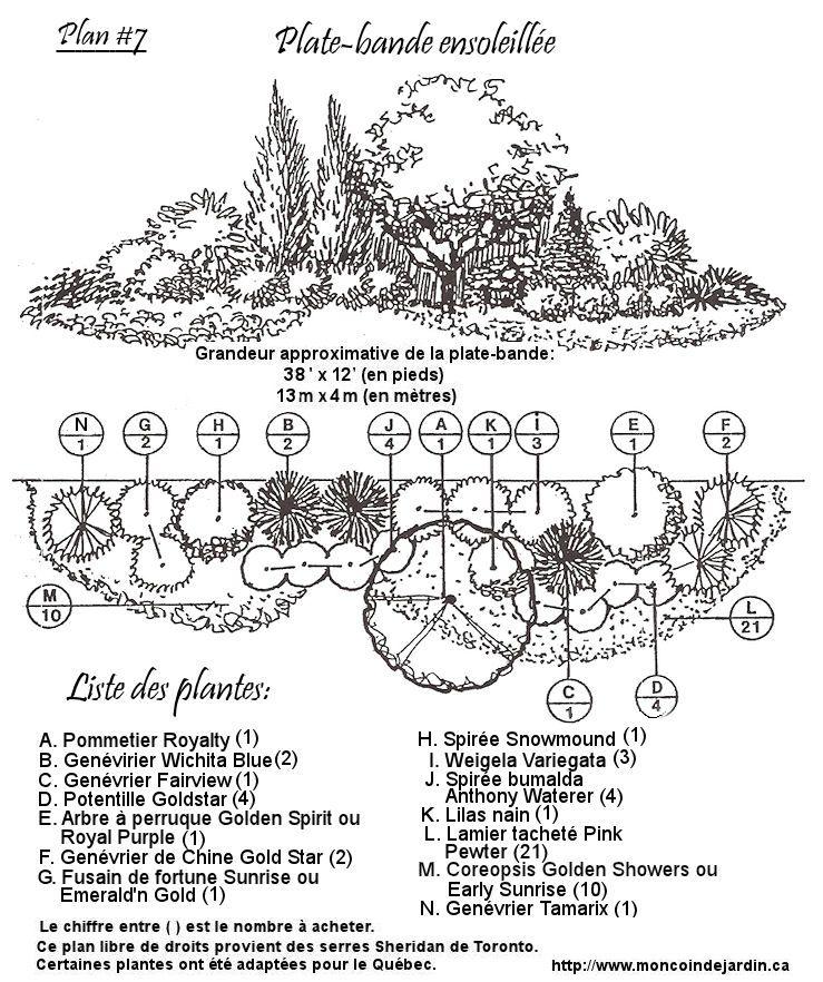 Plan ensoleill mod le de plate bande pinterest jardins amenagement jardin et am nagement - Plan amenagement jardin ...