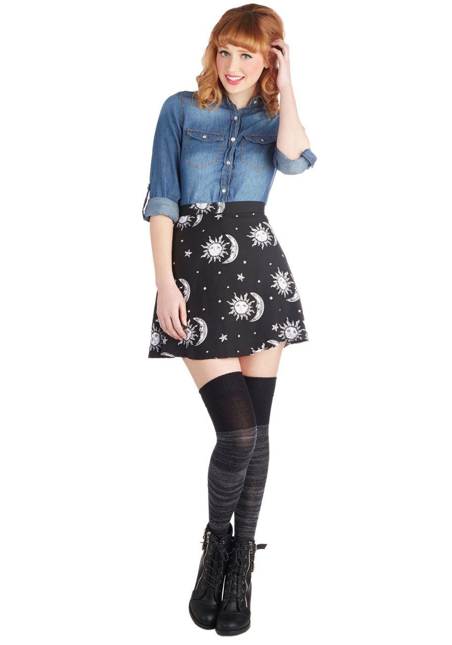 Stun, Moon, and Stars Skirt | Mod Retro Vintage Skirts | ModCloth.com