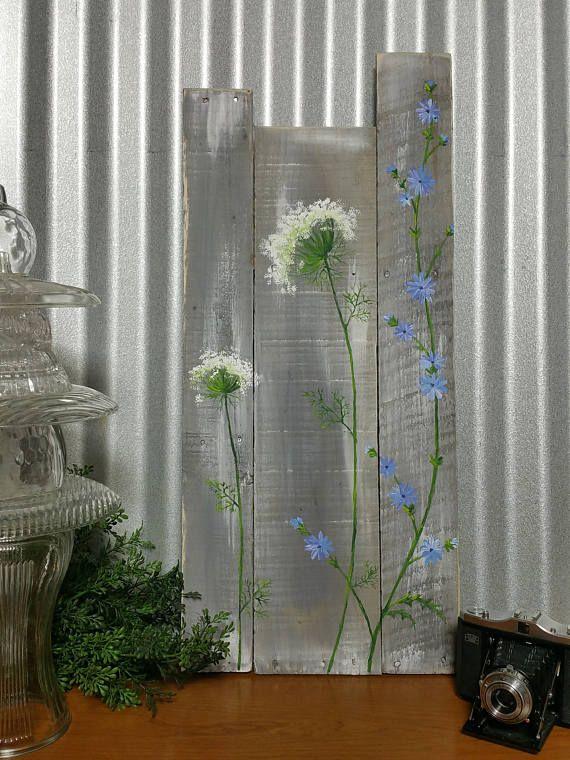 Pallet wall art wild flowers greenery Farmhouse decor gray