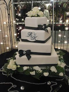 A little bling and bows - Wedding Cake