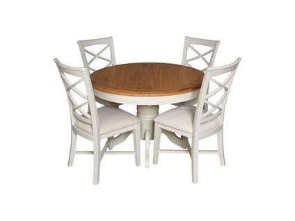 Hartham Round Extending Dining Table And 4 Wooden Chairs In Cream Dining Room Furniture Ha Cream Dining Room Furniture Extendable Dining Table Dining Table