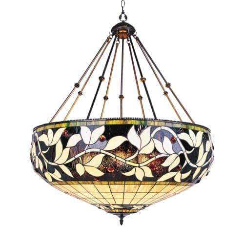 Landmark Lighting 710 Tiffany Six Light Bowl Pendant From The English Ivy Collection Bronze