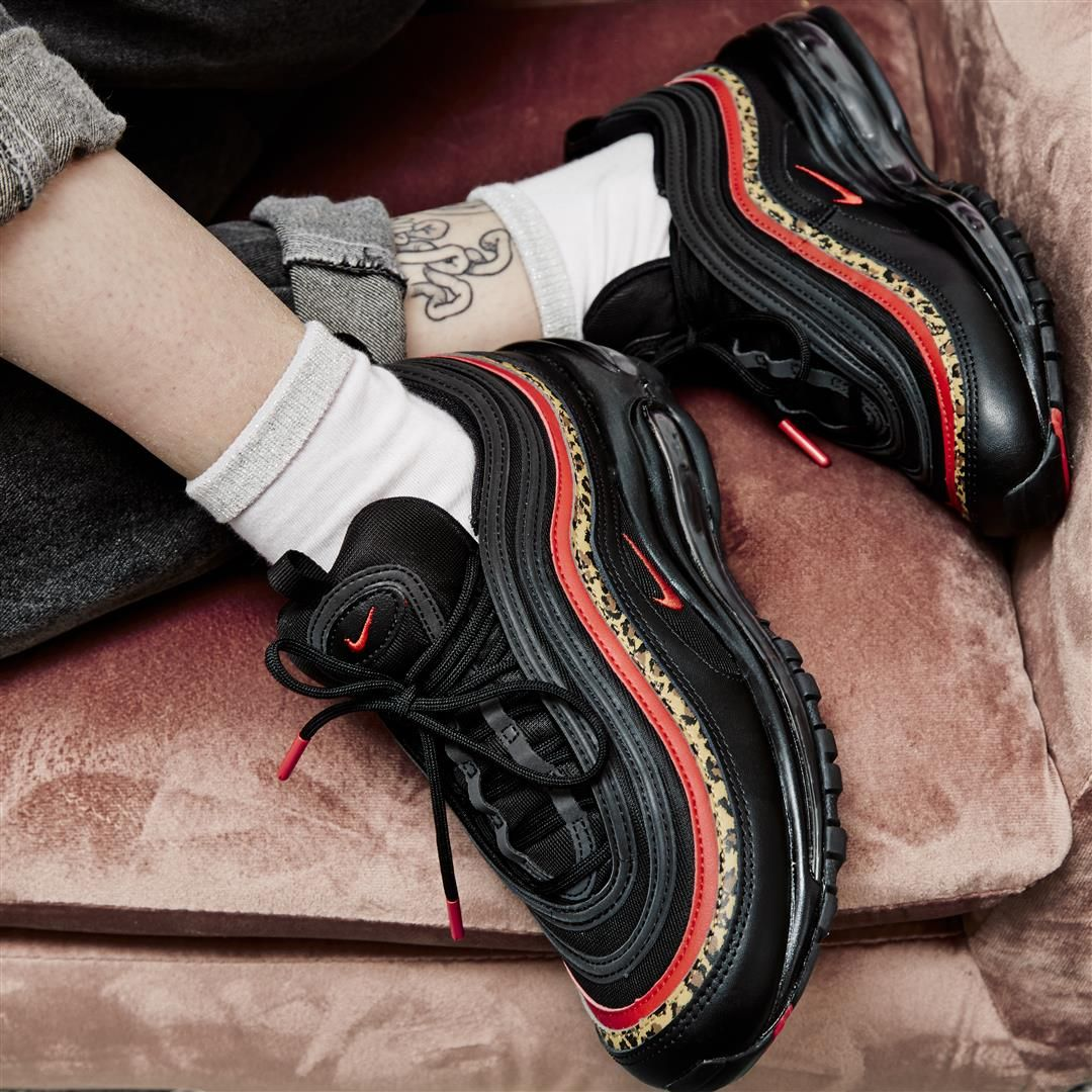 nike air max 97 trainers black university red leopard