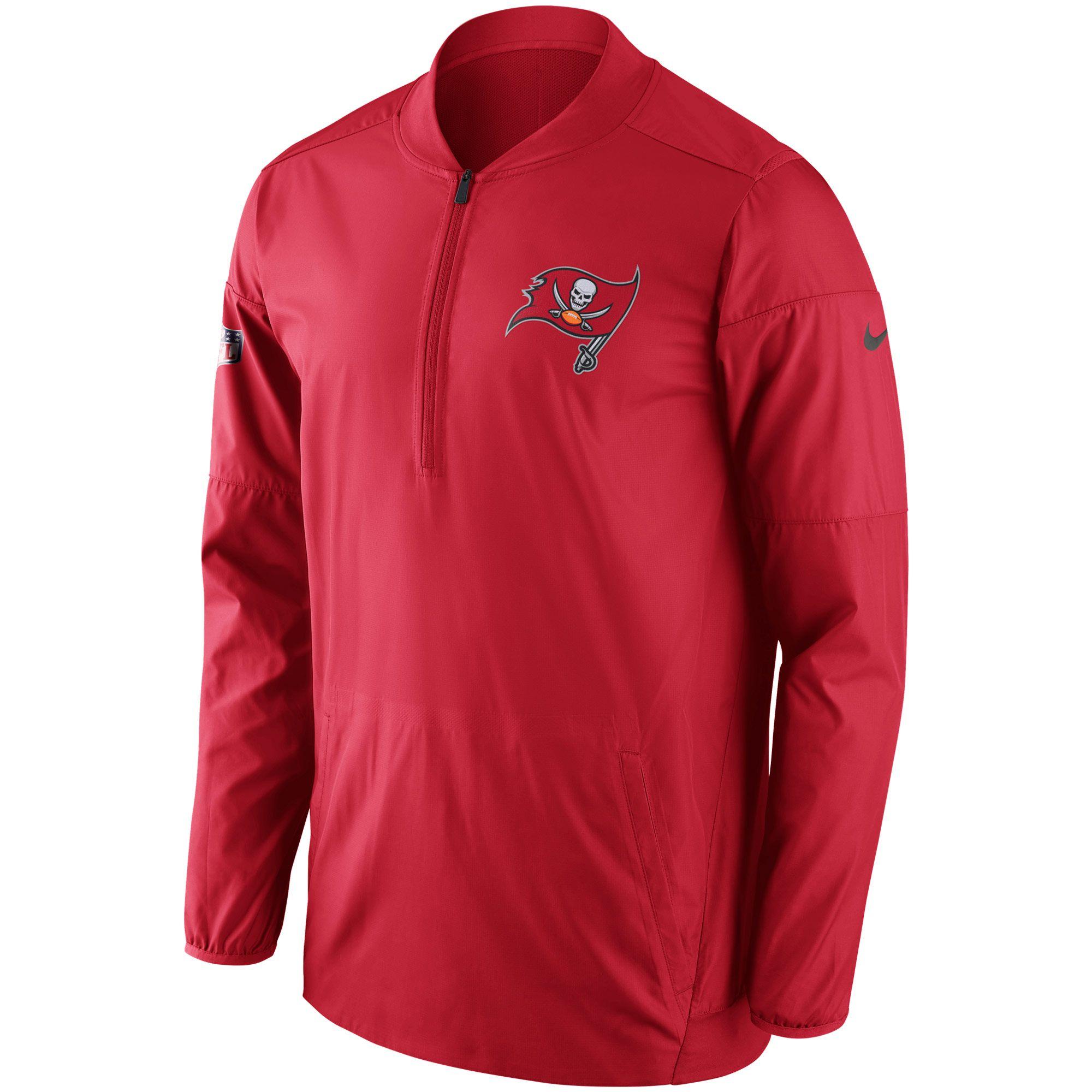 Nike Tampa Bay Buccaneers Red Sideline Lockdown Half-Zip Pullover Jacket