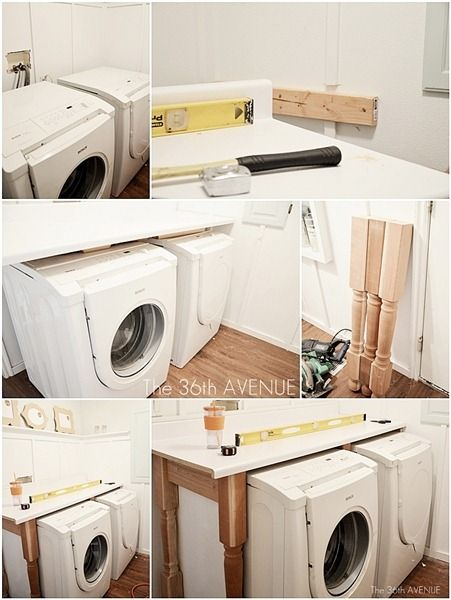 White And Navy Blue Laundry Room By The36thavenue How To Build A Shelf Over