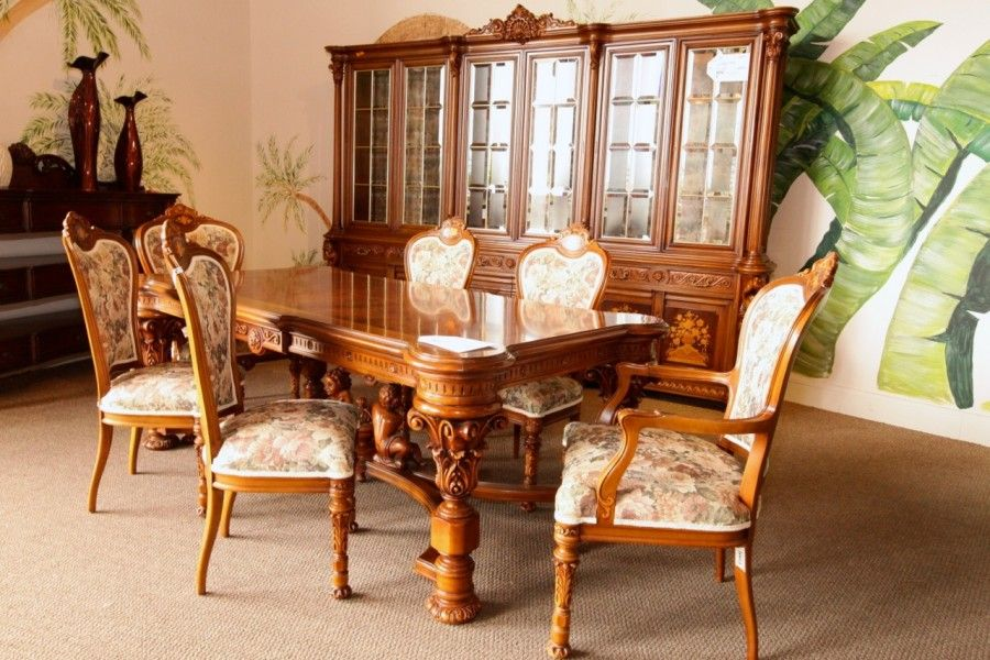 dining room sets las vegas | Hand Carved Dining Table w/ 6 Chairs & Large Buffet/Hutch ...