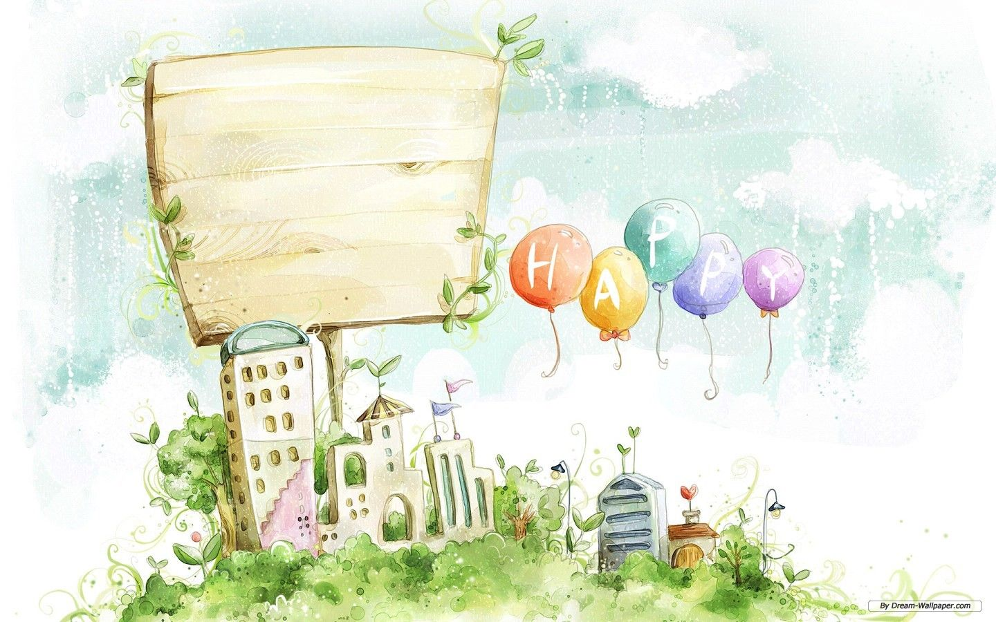free art wallpaper - drawing beautiful scenery computer 1 wallpaper