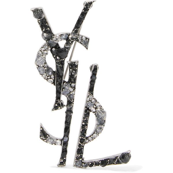 Ruthenium-plated, Crystal And Enamel Brooch - Silver Saint Laurent