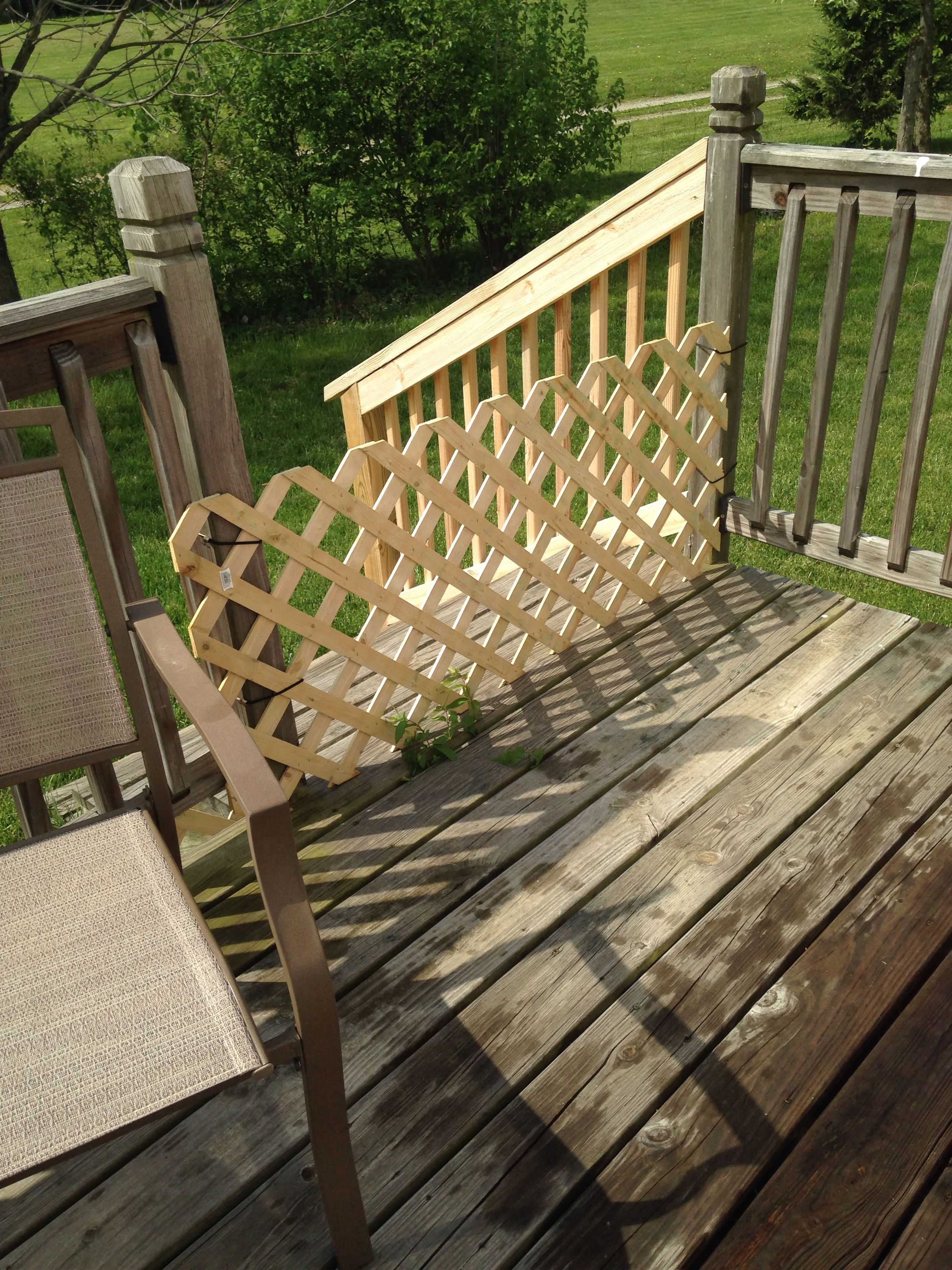 bungee cord chair diy covers ivory wedding deck gate piece of lattice work and a few