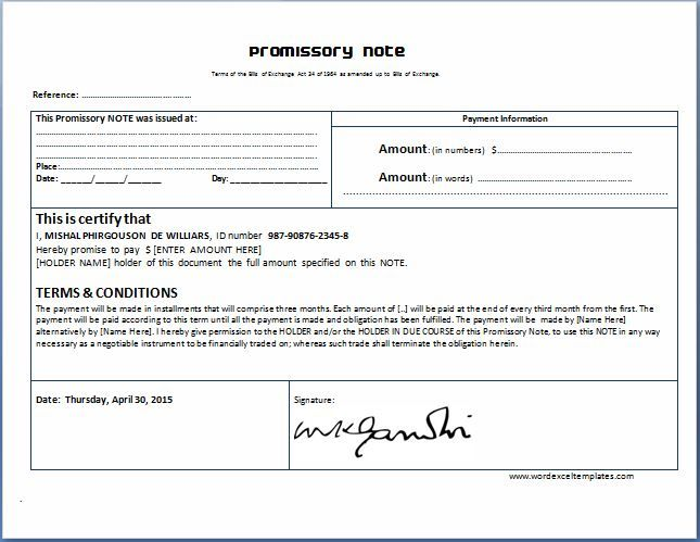 General Promissory Note Template – Promise to Pay Note