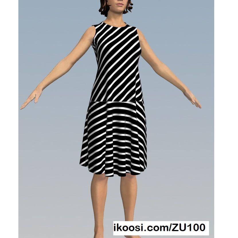 4f6448873b Vestido para dama de tela elástica semiajustado con falda semicircular