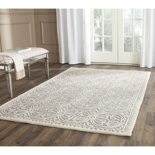Cathay Silver  Ivory Wool Hand-Tufted Area Rug Ivory, Painted